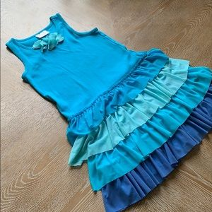 HANNA ANDERSSON Blue Layered Dress 6-7 Y